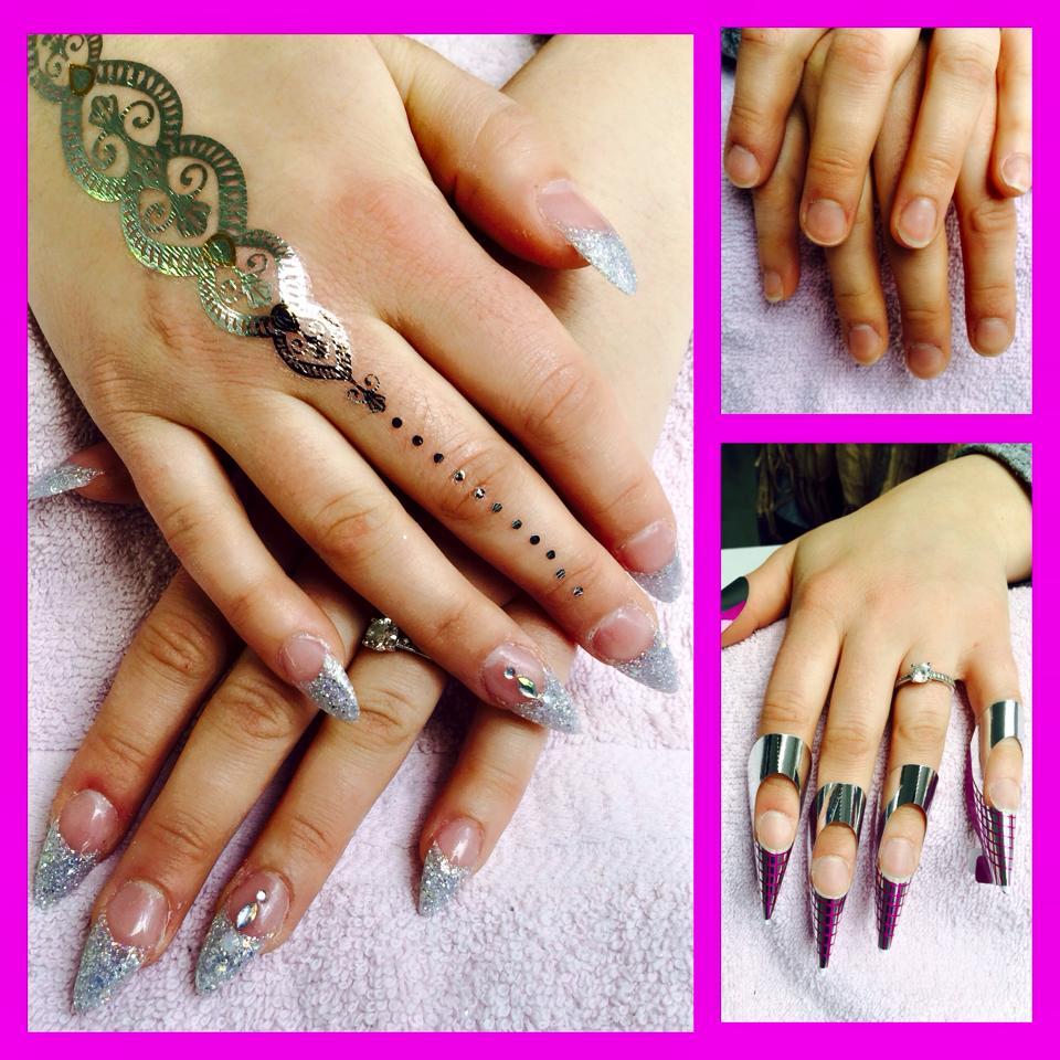 Cnd Acryl nagels Stilleto met glitter